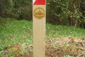 A land marker on the orienteering track