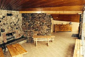 Fireplace lounge in the sauna building