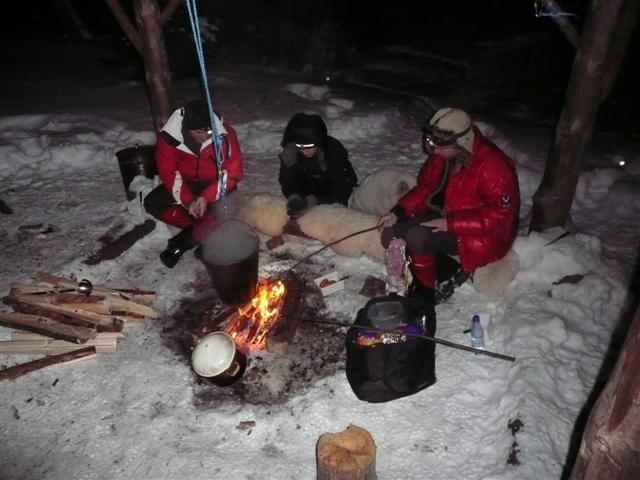 Preparing food around the campfire