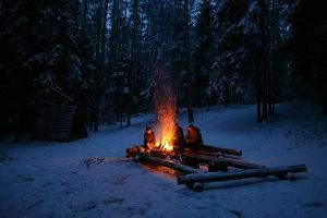 Bonfire in winter