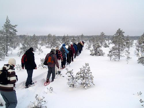 Hiking in winter on snowshoes
