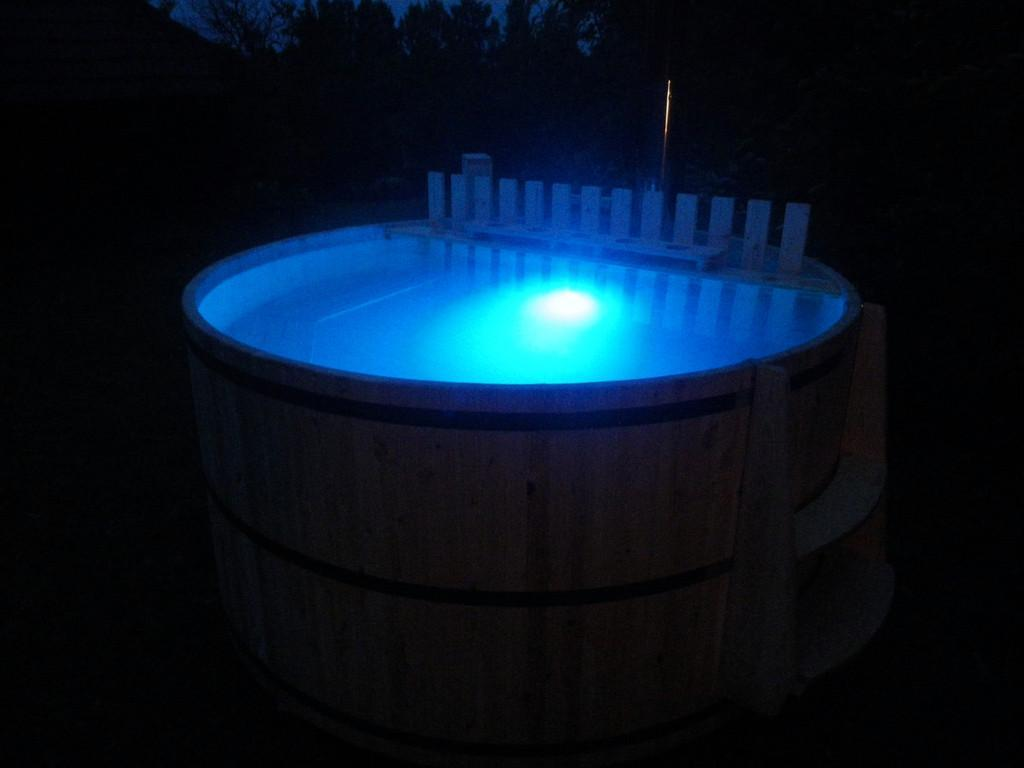 Spend a night with friends in a hot tub with LED lighting and a bubble system!