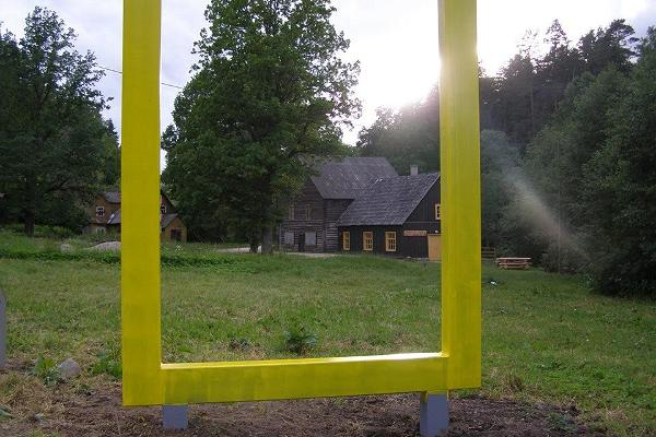 Yellow National Geographic window in Süvahavva village