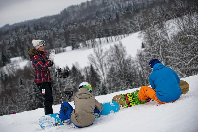 Snowboarding with children