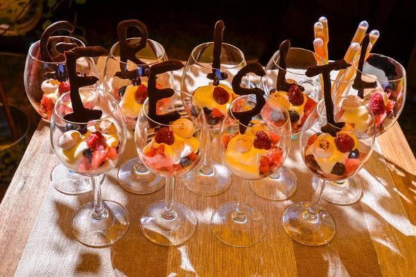 Desserts served from glasses at the Grillfest.