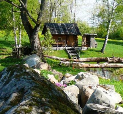 Smoke sauna by the pond