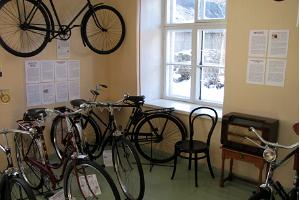A corner in the Red Room of the Estonian Bicycle Museum