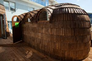 Viking igloo sauna, located outside on the roof