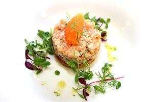 Toast with smoked salmon and whitefish roe