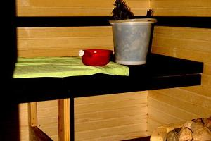 Steam room in the wood heated sauna at the Kalda Holiday Home