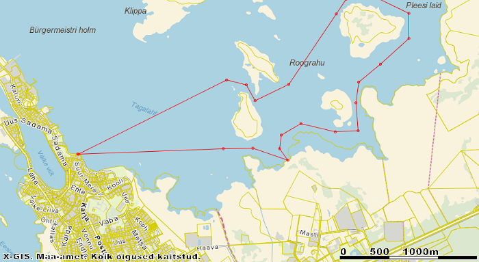 Hiking route in the Gulf Tagalaht in Haapsalu