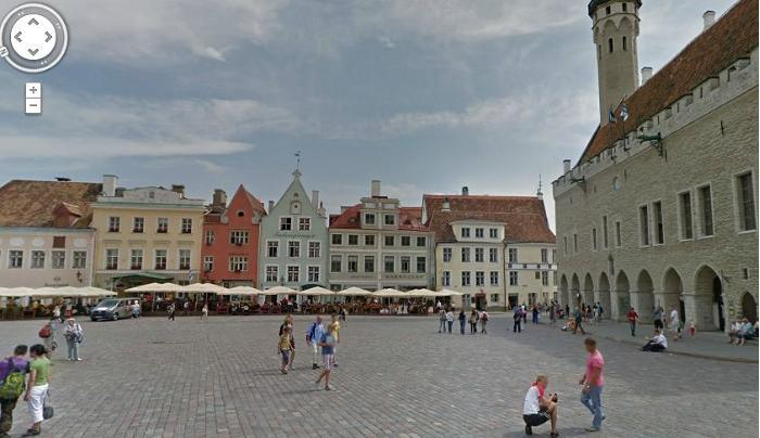 Tallinn's Town Hall Square in Google Maps View