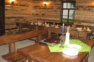 Party buffet in the recreation room in the Männi Farm smoke sauna building