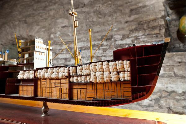 Cross-section of model cargo ship