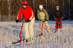 Kicksledge trip on the paths of