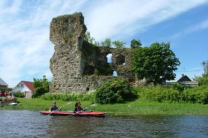 Ruins of the Stronghold of the Livonian Order in Vasknarva, viewed from River Narva