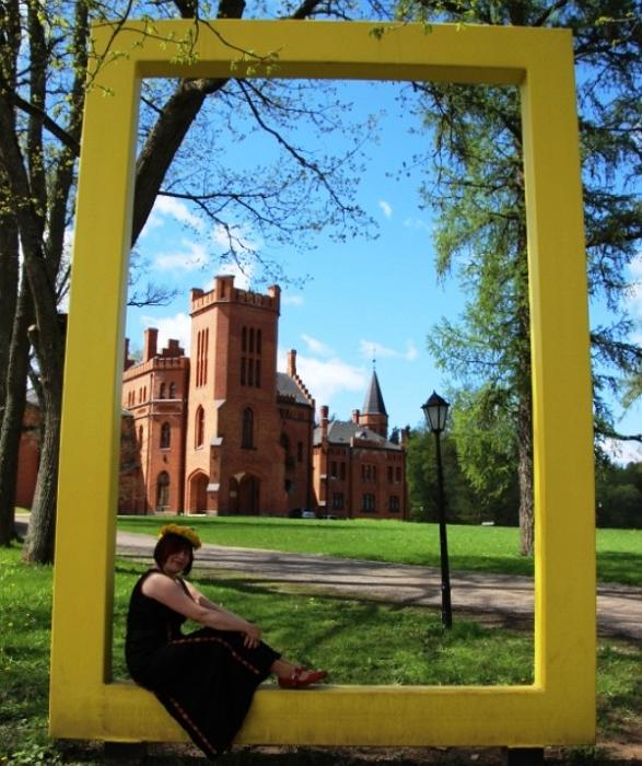 Yellow National Geographic window near the Sangaste castle