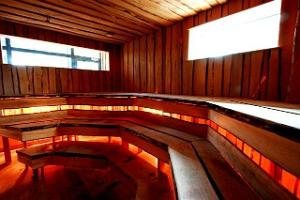 Wood-heated sauna
