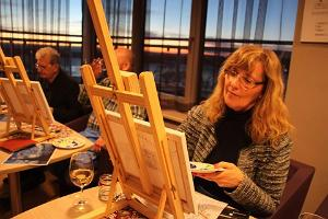 Painting class at sunset