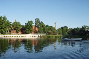 A view of Räpina paper mill from the lake