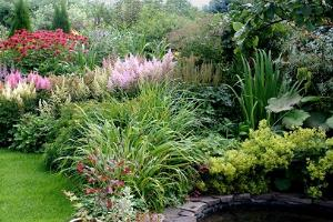 Maie Aed. The water feature is framed by perennials that have foliages in varying shapes and colours