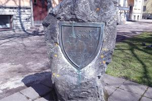 Memorial stone dedicated to St. Nicholas Church
