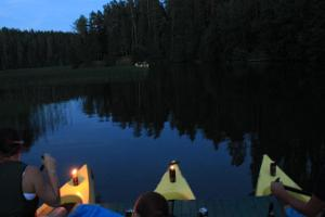 Romantic canoe raft trip with torches in Taevaskoda