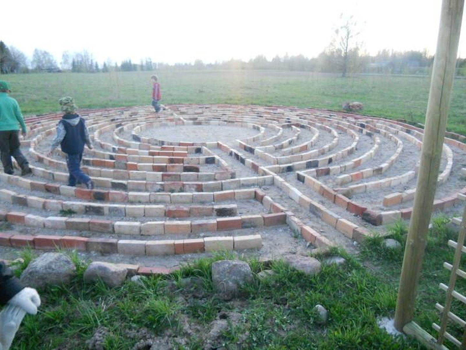 The brick laid labyrinth of Jaii Farm in Estonia