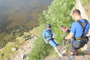Rappelling from the Türisalu cliff