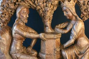 Tristan and Isolde. Carved elements on the bench at Town Hall, 14th century.