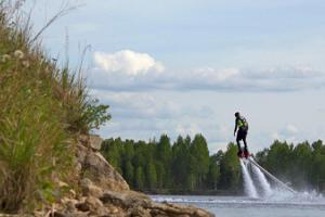 Flyboard ride in Rummu quarry