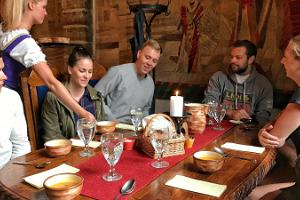Eating in a medieval-themed restaurant
