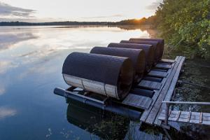Barrel camping pods on water in Paekalda Holiday Centre