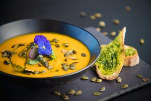 Pureed carrot soup with damson bread