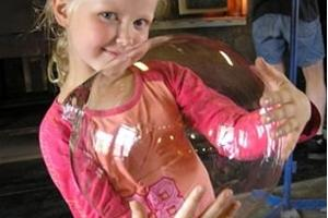Her very first glass bubble.