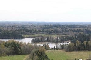 View of Lake Vaskna from the Suur Munamägi tower in early spring.