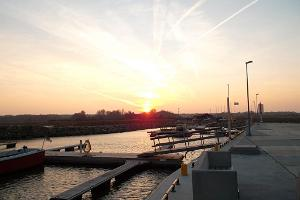 Sunset over Abruka harbour