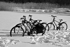 Natural bicycle parking area on the frozen sea